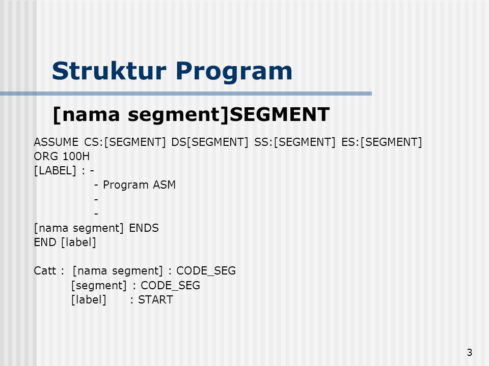 Struktur Program [nama segment]SEGMENT